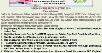 JADWAL DAN PESERTA SKB SELEKSI CPNS PROV. SULTENG 2019