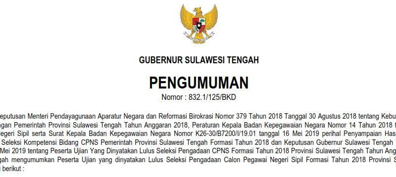 Pengumuman Hasil Seleksi CPNS Prov. Sulteng 2019 (Formasi 2018)