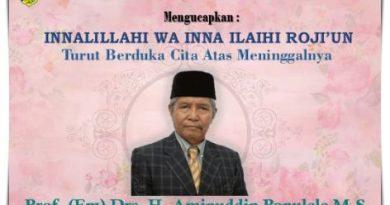 Turut Berduka Cita Atas Berpulangnya Bapak Prof. (Em) Drs. H. Aminuddin Ponulele, M.S.